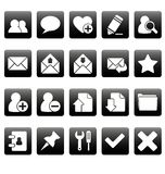 White web icons on black squares Royalty Free Stock Photos