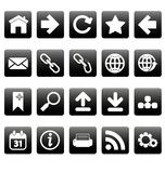 White web icons on black squares Stock Photos