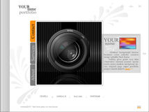 White web site, portfolio photographer with a lens. The white web site, portfolio photographer with a lens Royalty Free Stock Photo