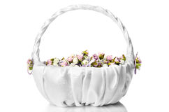 White wedding basket with flowers  on white Stock Image
