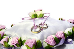 White wedding basket with flowers  on white Stock Photography
