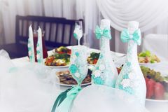 Decorations for a wedding table royalty free stock photo