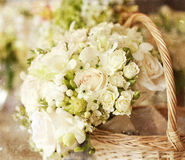 White wedding bouquet. Beautiful white wedding bouquet with roses - vintage photo Stock Image