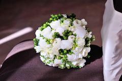 White wedding bouquet. On background Royalty Free Stock Images