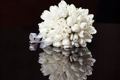 White wedding bouquet. On a black background Royalty Free Stock Photo