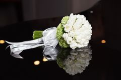 White wedding bouquet. On a black background Stock Photography