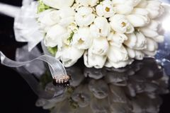 White wedding bouquet. On a black background Royalty Free Stock Image
