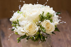 White wedding bouquet. E of rose and fresia Royalty Free Stock Image