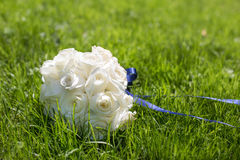 White wedding bouquet for bride. Luxury white wedding bouquet of roses Royalty Free Stock Photo