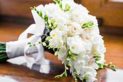 White wedding bouquet. Close up of beautiful white wedding bouquet Stock Images