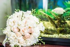 White wedding bouquet. Close up of beautiful white wedding bouquet Stock Photos
