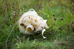 White wedding bouquet in green grass Royalty Free Stock Photography