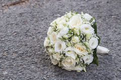 White wedding bouquet. Modern wedding bouquet made of iwhite roses Royalty Free Stock Photo