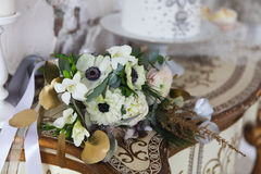 White wedding bouquet with ranunculus Royalty Free Stock Images