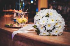 White wedding bouquet with ribbon Stock Photos
