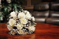 White wedding bouquet of roses.  Stock Photos