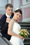 White wedding bride and groom Stock Images