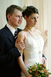 White wedding bride and groom royalty free stock photography