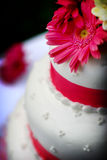 White wedding cake. With pink trim and white and pink flowers Stock Photos