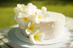 White Wedding Cake decorated with flower Stock Images