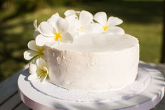 White Wedding Cake decorated with flowers Royalty Free Stock Photo