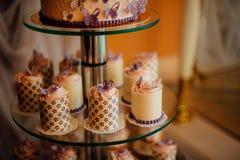 White wedding cake with flowers Stock Photo