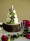 White Wedding Cake Grapes and Glasses Stock Photos