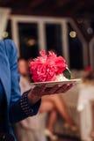 White Wedding Cake with Peonies Royalty Free Stock Image