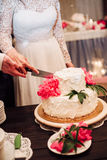 White Wedding Cake with Peonies Stock Images