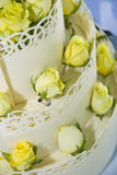 White wedding cake with roses Stock Images