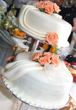 White wedding cake with roses Stock Images
