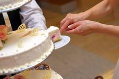 White wedding cake with strawberry Royalty Free Stock Photography