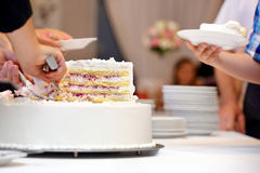 White wedding cake with strawberry Stock Photography