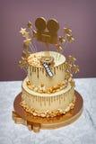 White Wedding Cake, style of cinema Stock Photo