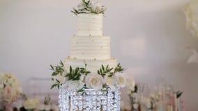 White wedding cake. Slowmotion pan stock video footage