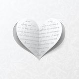 White wedding card with paper heart Stock Photos