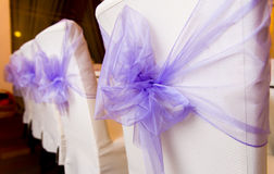 White wedding chairs. Decorated with purple bows Royalty Free Stock Photos
