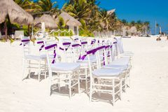 White wedding chairs decorated with purple bows on Stock Photo