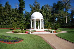 White wedding chapel stock photography