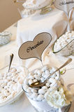 White wedding confetti buffet Stock Image