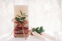 White wedding decoration candles Royalty Free Stock Photography