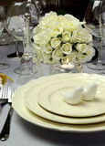 White wedding dining table setting - close up Royalty Free Stock Photography