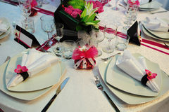White wedding dinner reception table Royalty Free Stock Photography