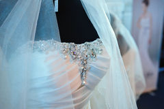 Beautiful wedding dress. For bride in the showroom stock photos