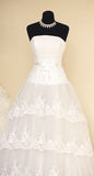 White wedding dress detail. In the shop Royalty Free Stock Photography