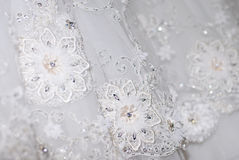 White wedding dress details & shining lace Stock Photo