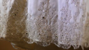White wedding dress with hand embroidery and stones stock footage