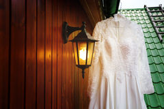 White wedding dress ready for bride Royalty Free Stock Images