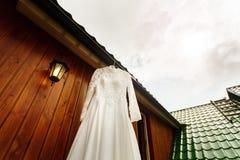 White wedding dress ready for bride Stock Photo