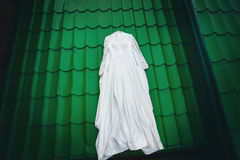 White wedding dress ready for bride Royalty Free Stock Photography